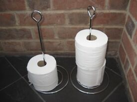 Chrome, freestanding toilet roll holders x 2