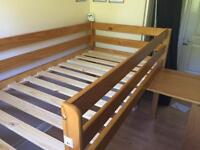 BARGAIN! Pine loft bed with slide out desk - almost new! 😃