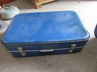 Vintage expandable Cheney suitcase - blue - Prop display storage