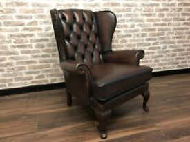 Antique Brown Chesterfield Wing Chair