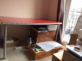 Shiny red IKEA large linnmon desk