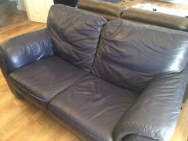 DFS- Blue Real Leather 3+2 piece suite