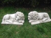 Pair stone garden lion statues, fantastic detail. New