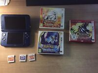 """For Sale - Like new """"New"""" 3DS XL with 3 Pokemon Games + Charger (Boxed)"""