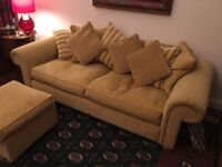 Beautiful 3-Seater Chanille Sofa with Footstool and matching set of Cushions.