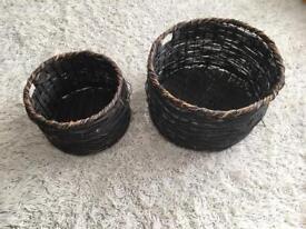 Dark brown wicker baskets x2. (Habitat). D45cm x H27cm and D33cm x H22cm