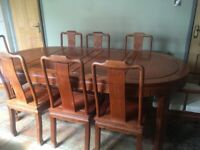 Solid Wood 8 Seater Extendable Dining Table & Chairs,Top Quality