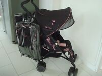 Silver Cross Pop Black/Pink Pushchair Stroller with rain cover & foot muff