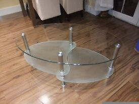 LOVELY CHROME AND GLASS COFFEE TABLE