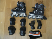 Inline men's rollerblades Spark TR80 (size 7) with protection set - Excellent condition