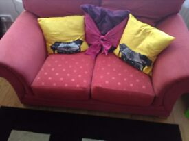 2+3 seater coral red sofa