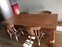 Solid pine chunky farmhouse table & 4 chairs