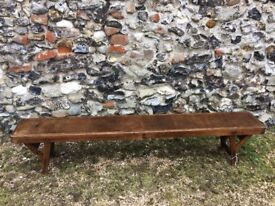 Antique school bench. Lovely wooden folding antique school bench 182.5 x 24.5cm, height 38cm