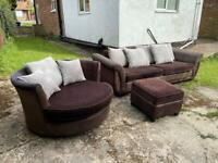 FREE DELIVERY in Rugby.4seater sofa , swivel chair and footstool