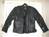 Rhino Motorcycle Motorbike Bike Black Leather Jacket Size 12 EU 42