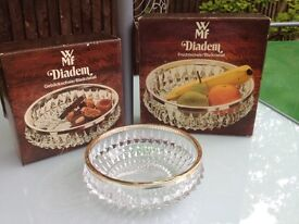 """WMF Diadem Bleikristall Cut Crystal Silver plated """"White Metal"""" Rimmed Serving Bowl"""