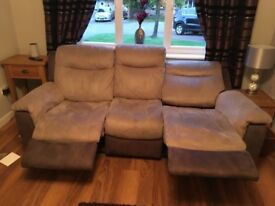 Grey suede electric reclining suite