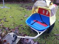 Bike trailer, hard blue plastic base with cover