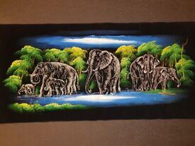 Perfect Elephant family Velvet Wall Art