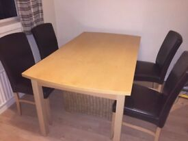 BUTTERFLY LEAF DINING TABLE AND 4 LEATHER CHAIRS
