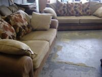 2 Piece Suite. 3 Seater and 2 Seater Sofas Settees in Brown Faux Suede and Fabric. Great Condition