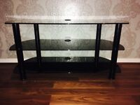Black glass tv table / tv unit