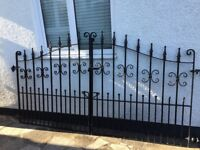 Wrought iron double gates - ornamental, high quality, almost as new. To fit 260cm gap. 140cm high
