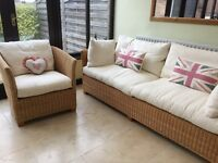 John Lewis Conservatory Furniture: 3 seater sofa and single chair, excellent condition barely used