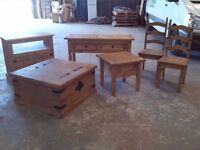 NEW REDUCED Pine Mexican style Furniture Set inc Coffee Table, Chest, Television Cabinet, Chairs ++