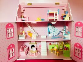 ELC Wooden Dolls House furniture included