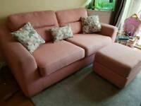 3 seater sofa footstool & chair