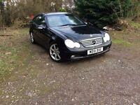 2002 Mercedes c200 Kompressor Coupe in Black, 12 Months Mot, Drive Away!