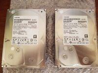 """2x 2tb Toshiba DT01ABA200 2TB SATA 3.5"""" Internal Hard Drive PN: 9F14317"""