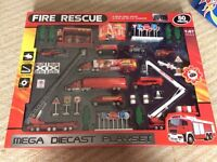 50 piece Fire Rescue Mega Playset Made from diecast metal. UNOPENED