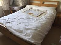 Ash double bed frame with matress