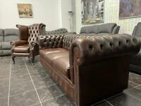 New real leather chesterfield sofa and queen armchair 🛋🚚