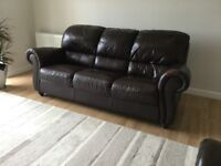 Brown Leather sofa and matching armchair