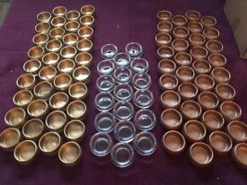 132 gold copper clear glass tea light candle holders job lot