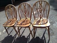 3 VINTAGE WHEELBACK DINING CHAIRS IN GOOD CONDITION