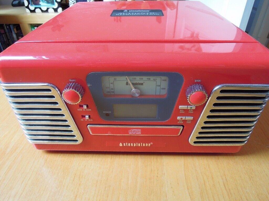 Steepltone Roxy3 Speed Record Player USB SD Flash MP3 CD Radio