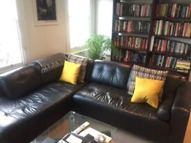 Black Leather L Shape Corner Couch Sofa