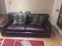 Large leather brown 2 X 3 seater sofa