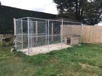 Large galvanised Dog run / pen 5m x 2m - part roofed