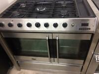 Stainless belling 100cm dull fuel cooker grill & double fan assisted ovens with guarantee