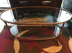 Bronze metal and glass Next coffee table