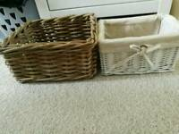 2x wicker storage boxes ikea
