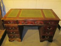 REPRODUCTION MAHOGANY SIX DRAWER DOUBLE PEDESTAL DESK WITH GREEN LEATHER TOP FREE DELIVER
