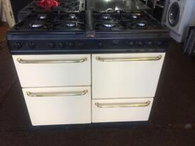 Black & cream belling 100cm gas cooker grill & double ovens good condition with guarantee