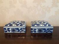 A pair of vintage Cobalt Blue, White & Gold Japanese lidded Trinket Boxes. £25 the pair