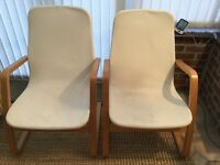 2 off IKEA chairs. Seats are a little grubby but covers have zips and can come off for washing.